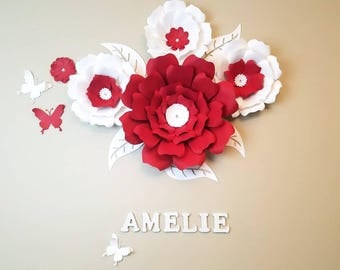 Large red flowers, Giant paper flowers, Nursery flower wall, Wedding backdrop, Flowers backdrop, Paper flowers backdrop, Red paper flowers