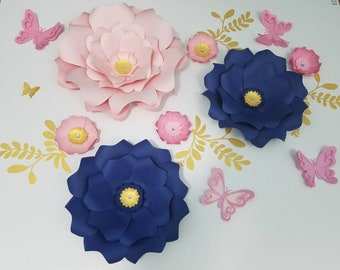 Pink and navy nursery large flowers wall decor. Large pink paper flower girl's room wall decor.Large navy paper flowers nursery wall decor.