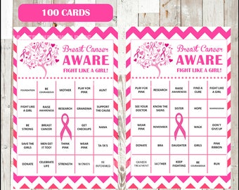50% OFF Breast Cancer Awareness Month Bingo Cards - Printable Pink Ribbon Event Activity - 100 different Cards - Instant Download