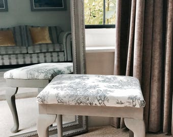 NOW SOLD Toile de Jouy Stool