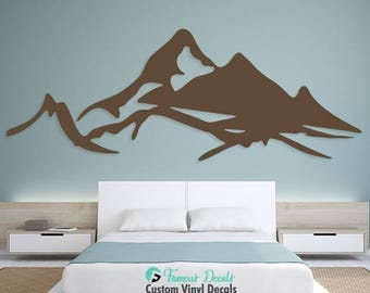Mountains Decal, Mountains Wall Decals, Mountains Sticker, Wall Decals, Mountains Décor, Home Decor, Wall Stickers, Living Room Stickers