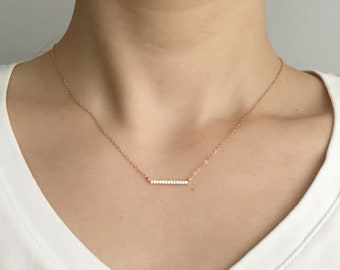 Gold CZ Bar Necklace, Dainty Bar Necklace, Simple Necklace, 14k Gold Filled Chain