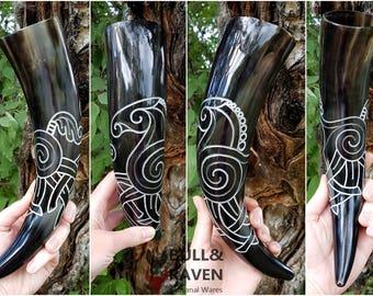 Sleipnir, Odin's Eight-Legged Horse Carved Drinking Horn
