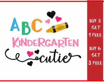 Kindergarten Cutie SVG, First Day of Kindergarten, Svg-Dxf-Png-Fcm, Cut Files For Silhouette Cameo/ Cricut, Svg Download, back to school