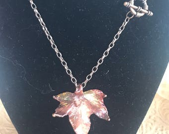 Copper dipped Leaf Necklace