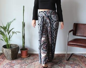 Psychedelic Black Wrap Pants / Flowy Split Leg Black Pants / Black Rayon Pants / SL031