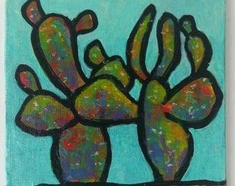 Cacti  : colorful acrylic painting desert