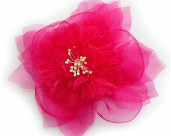 Flower brooch made of organza fabric, hot pink color.
