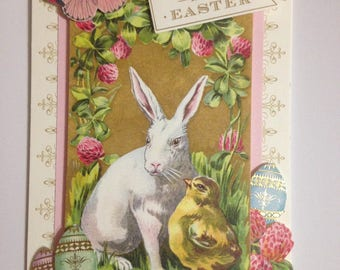 Easter Card/Handmade/3D/White Easter Rabbit and Baby Chick/Surrounded by Fresh Spring Berries, Easter Eggs and Butterfly