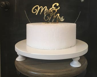 """18"""" inch CAKE STAND Wedding Birthday Stand Party Cake Stand 1st Birthday White Pedestal Custom Cake Stands Sturdy Shiny Tier Real Wood Stand"""