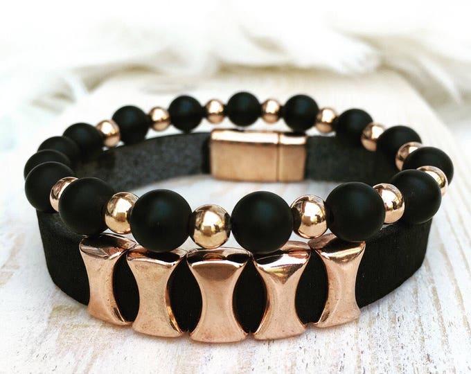 Free Shipping within NL Braceletset of 2 bracelets bracelet leather natural stone gemstone rose gold