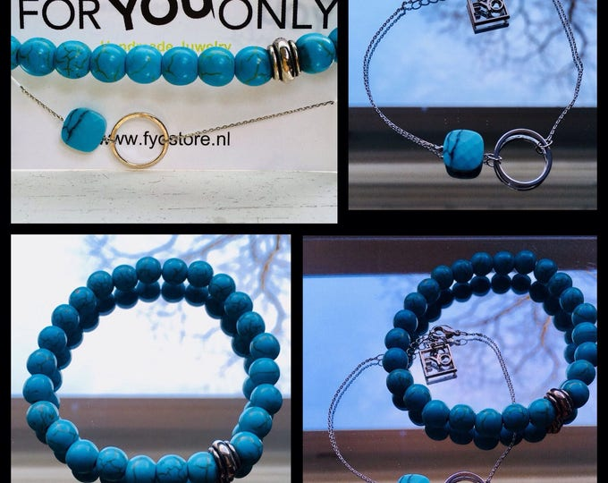 Free Shipping within NL Braceletset of 2 bracelets bracelet natural stone gemstone Turquoise