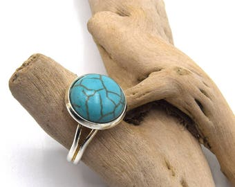 Turquoise silver ring adjustable turquoise gem stone - turquoise Silver ring, adjustable turquoise gemstone ring