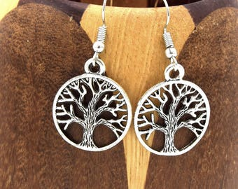 Tree of life round earrings silver, tree of life silver clips