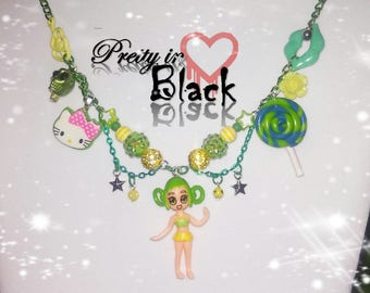 Green and yellow anime girl necklace with hello kitty and lollipop rave girl lime green