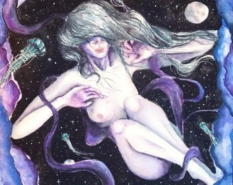 "Watercolor, original, psychedelic, space art - ""Celestial Body"""
