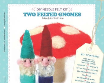 DIY Craft Needle Felt Wool Kit - Two Felted Gnomes Unique Gift & Family Time