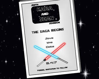 """Star Wars Inspired // Save the Date // Wedding // Galaxy Theme // Downloadable // Printable // 5"""" x 7"""""""