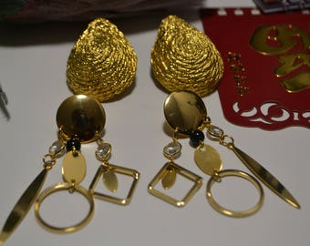 Gold Set  Clip On and Pierced  Tear Drop and Chandelier Earrings  NOS