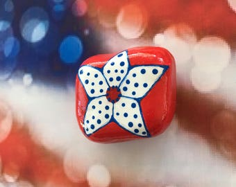 Patriotic Star Flower Hand Painted Rock-  Labor Day, Memorial Day, Veterans Day, 4th of July (patrflower2)
