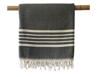 SIA Black Turkish Towel Peshtemal