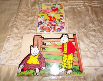 Two Vintage Rupert Bear Birthday Cards Never used one with Badge