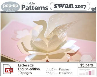 printable patterns_pop-up card _swan  (digital download file)