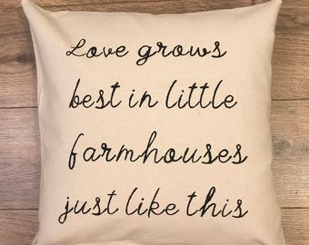 Love grows best 18x18 canvas pillow cover