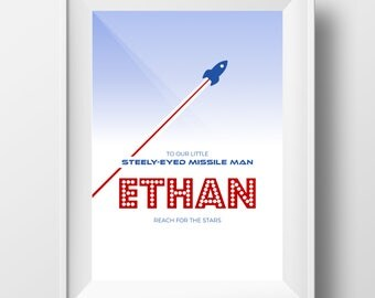 Ethan - Printable Personalised Nursery Decor - Steely Eyed Missile Man Cute Baby Gift - Baby Print - Nursery Print - Space Print Ethan Name
