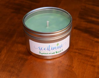 Spearmint & Basil Soy Candle in 8oz Tin with Lid