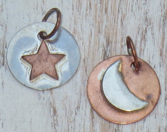 Copper and Silver Moon and Stars Charms, Moon Charm, Star Charm, Copper Charm