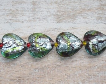 Large Lampwork Glass Heart Foil Green and Grey Beads 7pcs 25mm