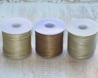 1mm Metallic Leather Cord, Round Leather, Leather Cord, Metallic Leather, 1.0mm leather cord, Brown, Cement, Vintage Pearl