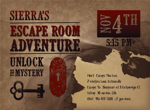 Printable escape room party invite western escape room for Escape room party