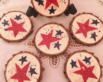 Set of 6 Red, White and Blue Wood Slice Coasters