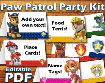 Printable Paw Patrol Birthday Party Food Label Tent Card Instant Digital Download for use as Paw Patrol Party Place cards / Name Tags Skye