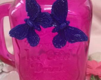 purple resin butterfly earrings