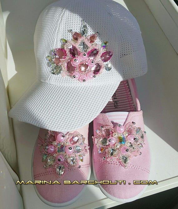 SET of Girl's Crystal-embellished sneakers/ slip-on shoes & matching hat