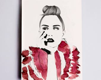 Grace Fashion Illustration Print, Fashion Sketch, Fashion Drawing, Fashion Art, Fashion Poster, Fashion Wall Art, Fashion Watercolour