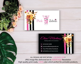 Pink Zebra Business Cards, Custom Pink Zebra Buy, Watercolor Flower Card, Printable Business Card, Personalized Cards, Fast Return Card PZ09