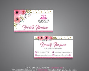 PERSONALIZED Paparazzi Business Card, Custom Paparazzi Business Card, Pink Glitter Card, Free Personalization, Printable Business Card PP72
