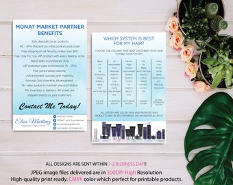 BOTH CARDS, Monat Market Partner Benefits, Monat Systems, Custom Monat Hair Care Card, Fast Free Personalization, Monat Business Cards MN06