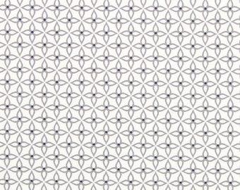 White stars fabric Island Blossom grey