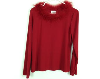 Red fur trim long sleeve shirt