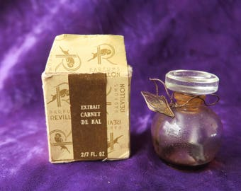 ancien tout petit flacon à parfum Révillon, carnet de bal, old scent bottle perfume Révillon, scrapbook