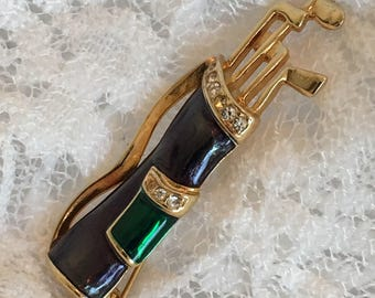 GREEN Golf Bag Gold Tone With Blue and Green Enamel and Clear Rhinestones Vintage Brooch Pin