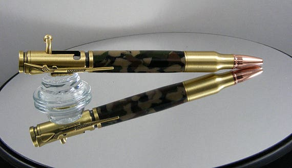 Handcrafted Bolt Action Ink Pen in Antique Brass and Woodland Digital Camo Acrylic