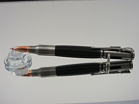 Handcrafted Bolt Action Pen in Antique Pewter and Carbon Fiber Acrylic