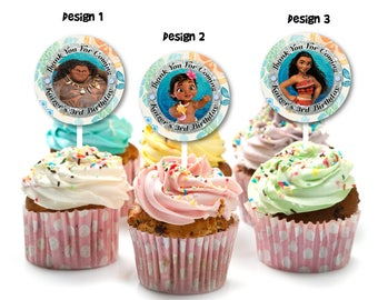 Personalized Baby Moana Maui Tribal Cupcake Topper Toppers Favor Label Labels Sticker Birthday Party Favor Tags Printable DIY - Digital File