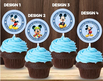 Personalized Mickey Mouse Cupcake Topper Favor Tag Sticker Stickers Pastel Baby Blue Birthday Party Baby Shower Printable DIY - Digital File
